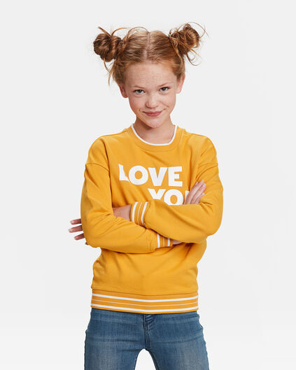 SWEAT-SHIRT LOVE YOU FILLE Jaune moutarde