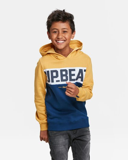 SWEATER A CAPUCHON IMPRIME UP BEAT GARÇON Jaune moutarde