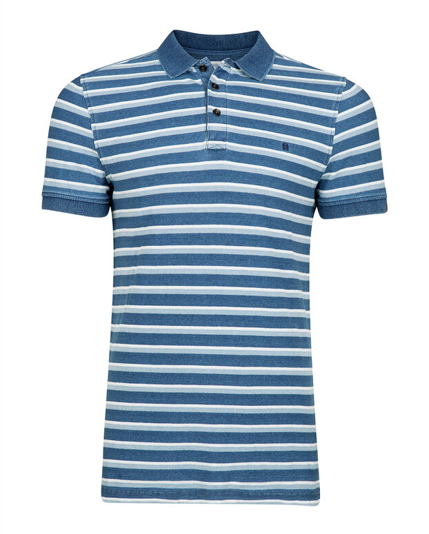 POLO SLIM FIT STRIPED HOMME Bleu