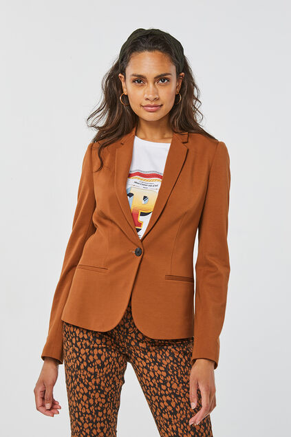Blazer regular fit femme Brun Cannelle