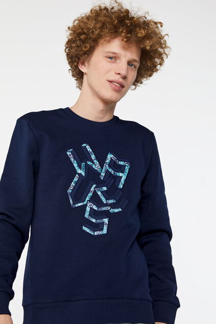 Sweat-shirt à application homme Bleu foncé