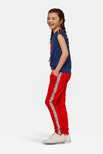 Pantalon de jogging sporty stripe fille Rouge