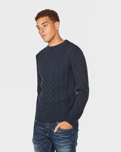 PULL BLUE RIDGE KNIT PATTERN HOMME Bleu marine