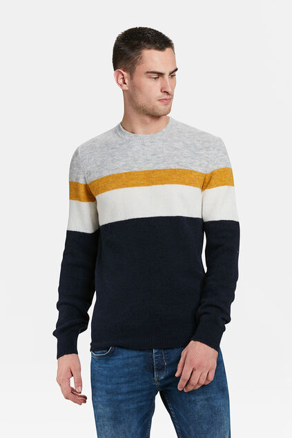 PULL COLOUR BLOCK HOMME Bleu marine