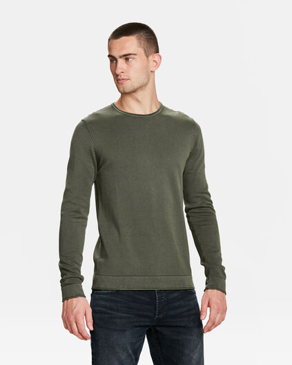 PULL RELAXED FIT STONE WASH HOMME Vert armee