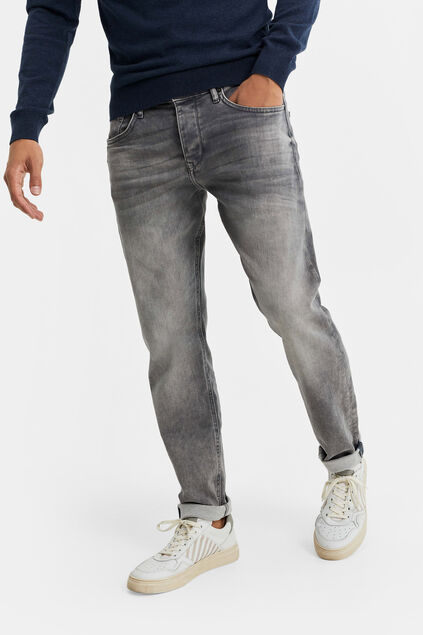 Jeans tapered fit de jog denim homme Gris clair