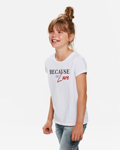 T-SHIRT BECAUSE OF LOVE PRINT FILLE Blanc