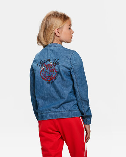 BLOUSON D'AVIATEUR DENIM EMBROIDERY FILLE Bleu