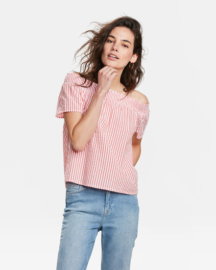 TOP OFF-SHOULDER STRIPE PRINT SMOCK FEMME Rose corail