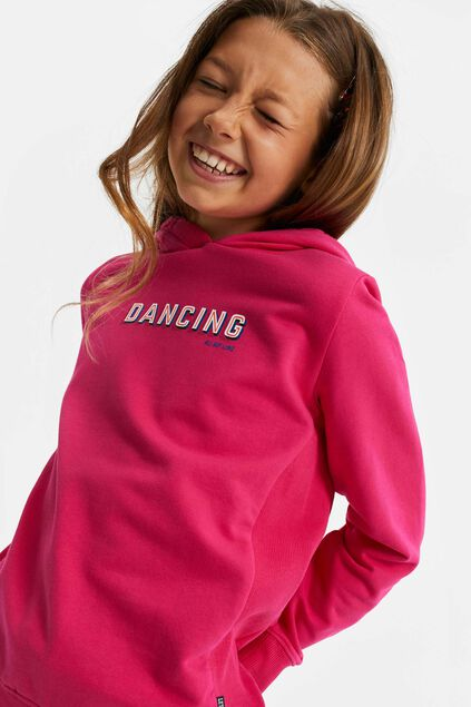 Sweat-shirt à capuchon et application fille Fuchsia