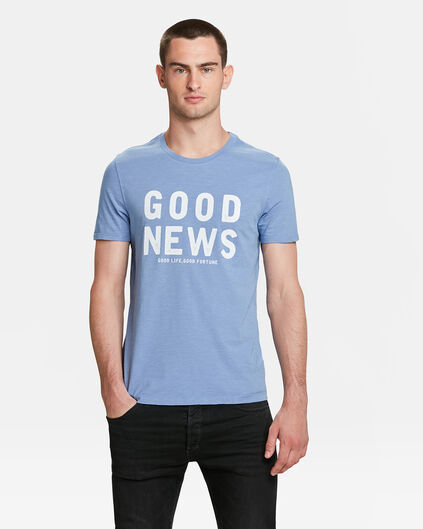 T-SHIRT GOOD NEWS PRINT HOMME Bleu gris