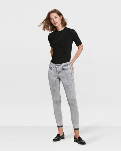 JEANS MID RISE SUPER SKINNY HIGH STRETCH FEMME Gris clair