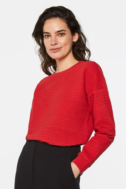 Sweat-shirt à structure femme Rouge