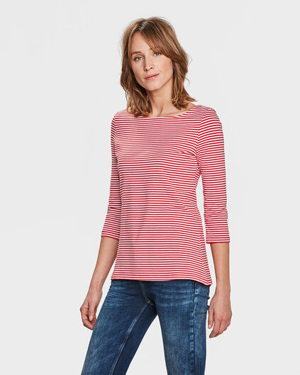 T-SHIRT STRIPED FEMME Rouge