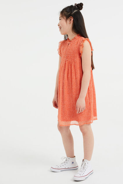 Robe à motif fille Orange vif