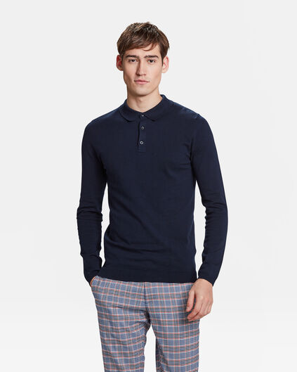 Pull col polo homme Bleu marine