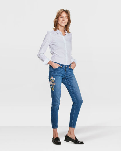 JEANS SKINNY CROPPED FLOWER EMBROIDERY FEMME Bleu
