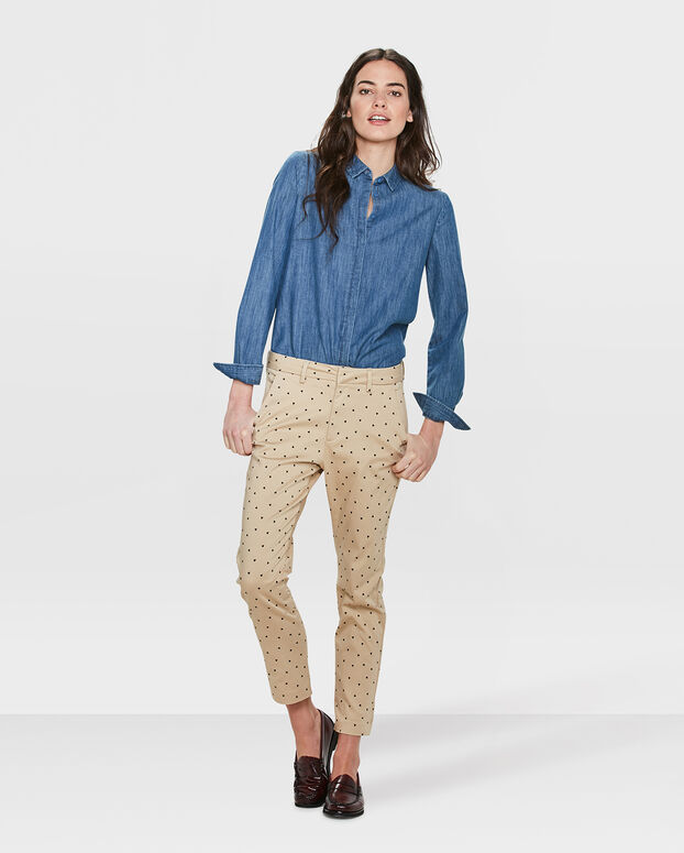 PANTALON CHINO TAPERED SLIM FIT PRINTED FEMME Beige