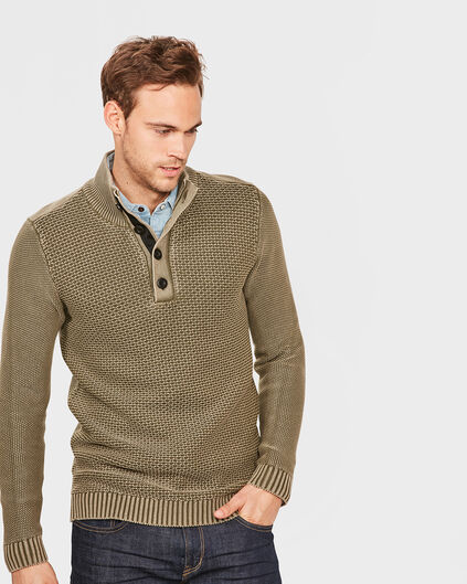 PULL A COL ROULE A STRUCTURE HOMME Vert armee