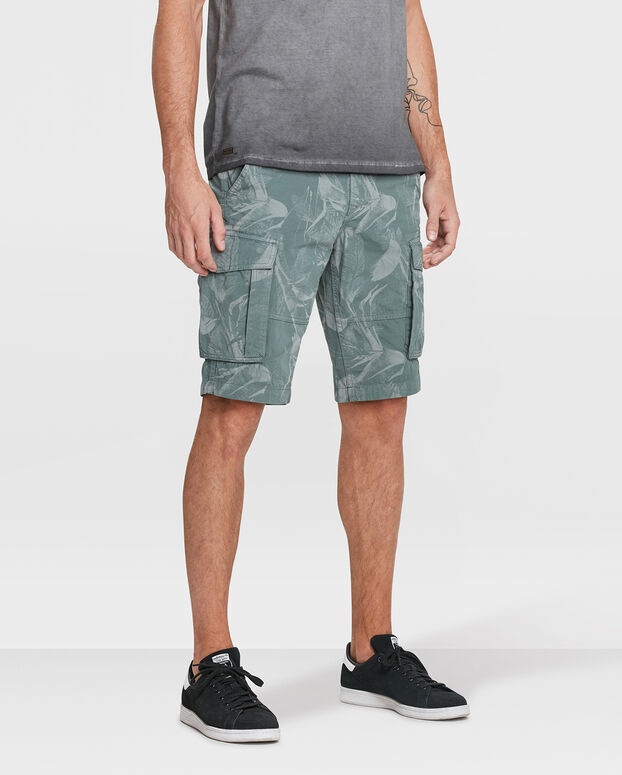 BERMUDA TAPERED RELAXED FIT CAMO PRINT CARGO HOMME Vert olive