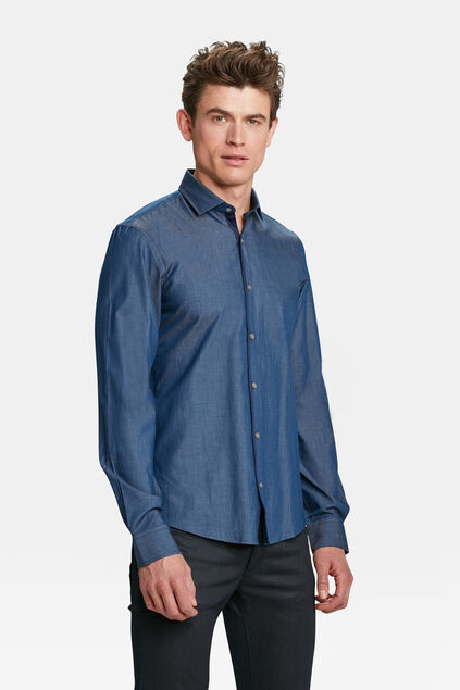 CHEMISE SLIM FIT CHAMBRAY HOMME Bleu
