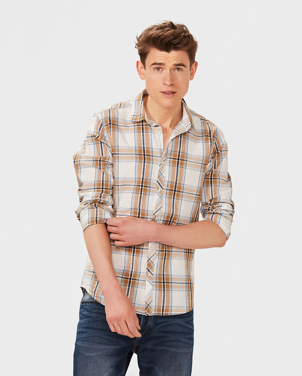 CHEMISE SLIM FIT CHECKED HOMME Brun clair