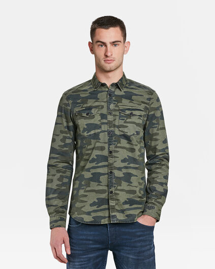 CHEMISE SLIM FIT CAMOUFLAGE DESSIN HOMME Vert