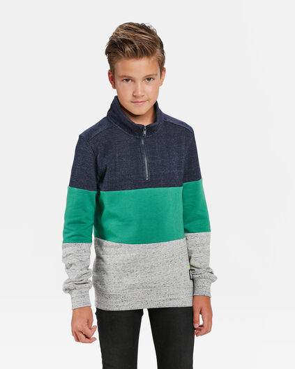 SWEAT-SHIRT COLOUR BLOCK GARÇON Vert vif