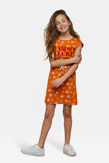 Robe à motif fille Orange