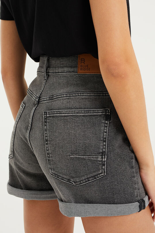 Short denim high waisted stretch femme Gris foncé