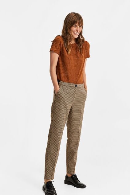Pantalon slim fit à carreaux femme Brun clair