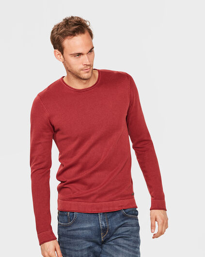 PULL STONE WASH RIB HOMME Rouge foncé