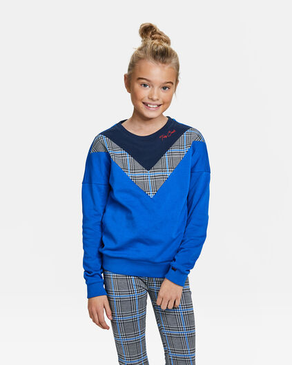 Sweat-shirt colour block fille Bleu