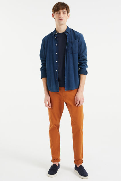 Pantalon chino slim tapered uni homme Brun rouille