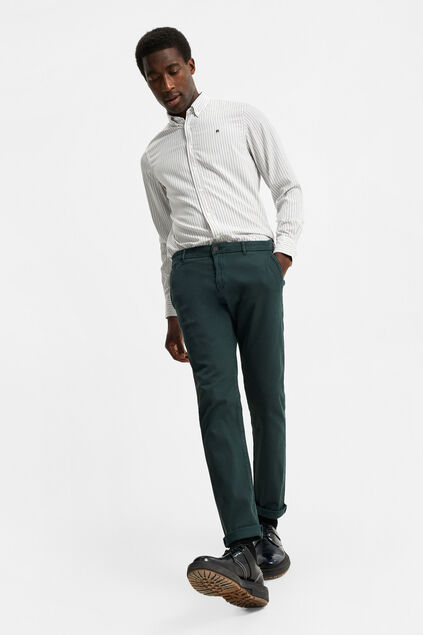 Chino slim tapered à structure côtelée homme Vert mousse