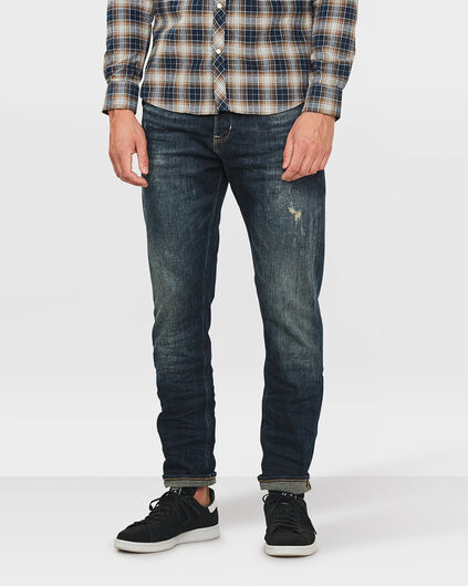 JEANS LOOSE TAPERED COMFORT STRETCH REPAIR HOMME Bleu foncé