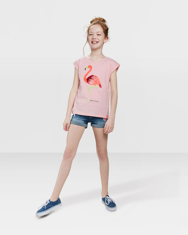 T-SHIRT FLAMINGO PRINT FILLE Rose