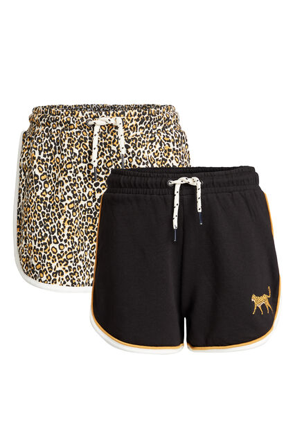 Short sweat à imprimé fille, pack de 2 Noir