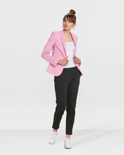 PANTALON REGULAR FIT CHECK FEMME Noir