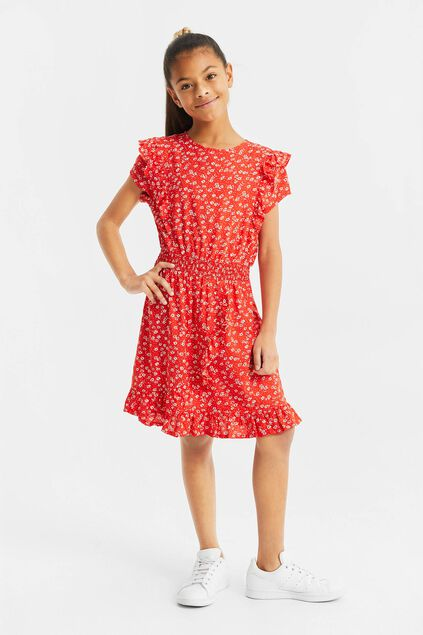 Robe à motif et volants fille Rouge vif