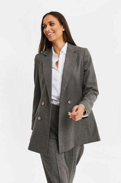 Blazer double breasted loose fit femme Gris foncé