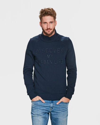 SWEAT-SHIRT TEXT EMBROIDERY COL HOMME Bleu marine