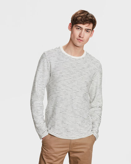 SWEAT-SHIRT RIB STRIPE HOMME Blanc cassé