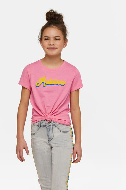 T-shirt rainbow fille Rose