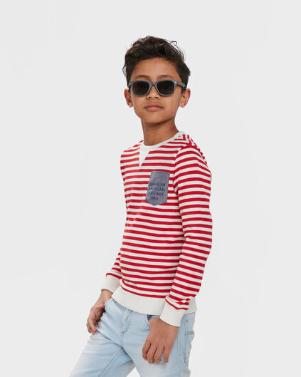 SWEAT-SHIRT ONE POCKET STRIPE GARÇON Rouge
