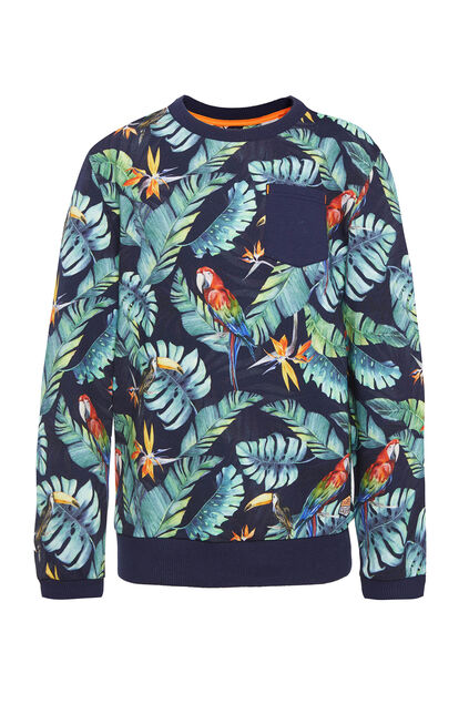 Sweat-shirt à motif jungle garçon Bleu marine