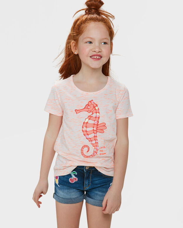 T-SHIRT GLITTER PRINT FILLE Orange