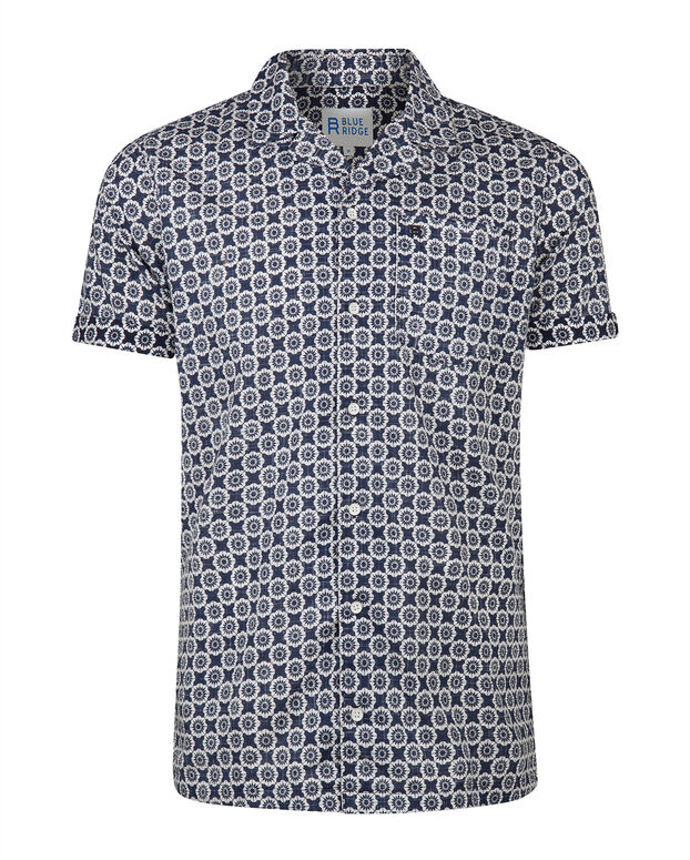CHEMISE RELAXED FIT PRINT HOMME Bleu marine