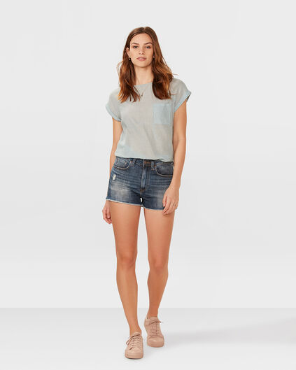 SHORT HIGH RISE SLIM DENIM FEMME Bleu