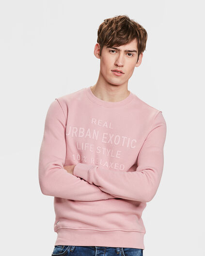 SWEAT-SHIRT REAL URBAN PRINT HOMME Vieux rose